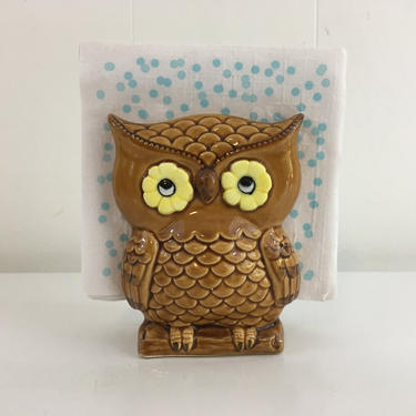 Vintage Owl Napkin Holder Lego Made in Japan Mid-Century Kitchen Retro Kitsch Owls Letter Mail 1970s 70s Kawaii Hygge by CheckEngineVintage