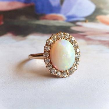 Antique Victorian Natural Opal and Old Cut Diamond Halo Ring 14K by YourJewelryFinder