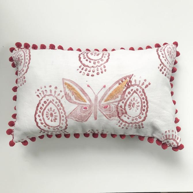 Embroidered Butterfly Pillow in Reds and Oranges