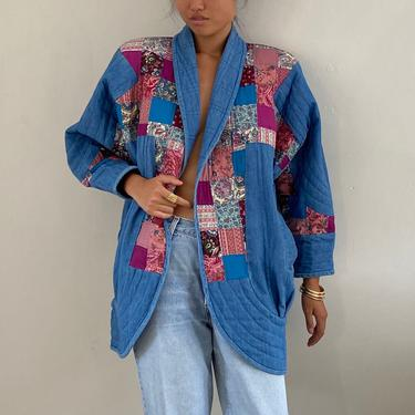 70s patchwork quilt chore coat / hand made vintage cotton denim multi print patchwork quilt quilted denim chore barn jacket coat | XL by RecapVintageStudio