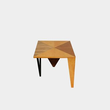 Wood And Metal Side Table With Triangle Theme