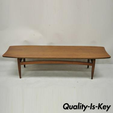 Vintage Mid Century Modern Walnut Surfboard Sculptural Long Coffee Table