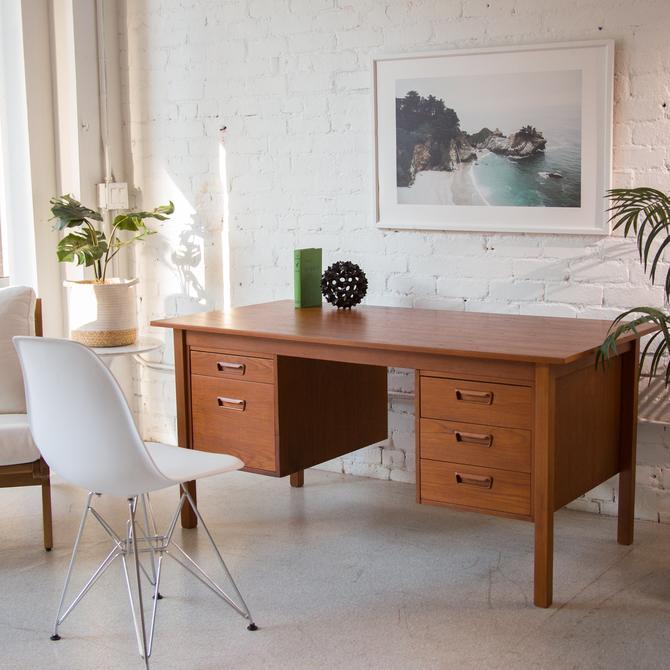Teak Pedestal Desk with Filing Cabinet