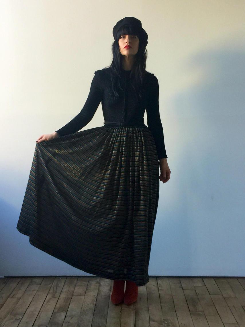 70s Knit Maxi Dress Long Sleeve Maxi Dress Lurex Multi