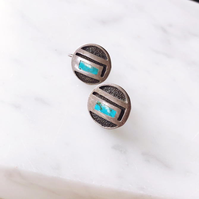 Vintage Sterling Silver and Turquoise Earrings by TheDistilleryVintage