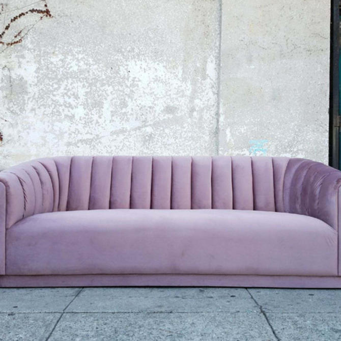 Rebekah Lavender Velvet Channeled Sofa