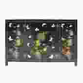 Chinese Black Vinyl Color Flower Butterflies Cabinet Sideboard cs5735S