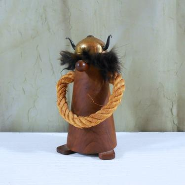 Vintage Viking Figure From Spain Made Of Olive Wood And Rope By Mostlymidmodern