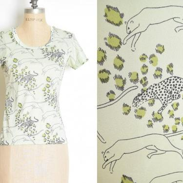 vintage 70s top mint green LEOPARD cats novelty print tee shirt disco S clothing by huncamuncavintage
