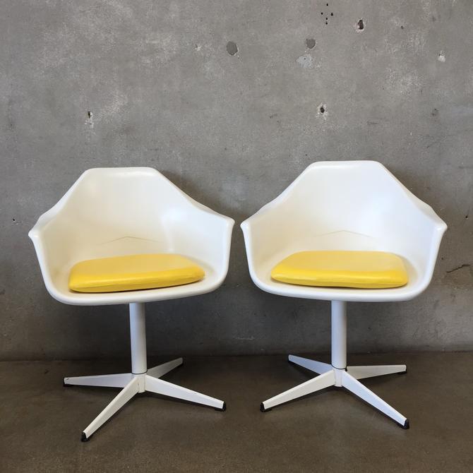 Pair of Mid century White & Yellow Tulip Chairs