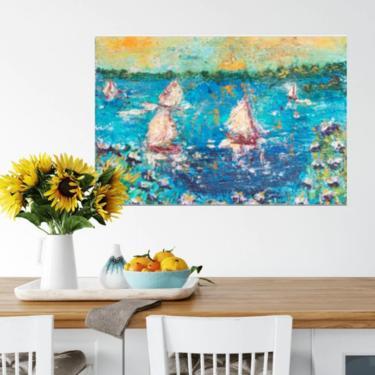 Seascape Coastal Art Print ~ Nautical Seascape Giclée Print ~ Ocean Sailboat Boathouse Art ~ Abstract Sailboat ~ Beach House Décor by DareToBeVintage