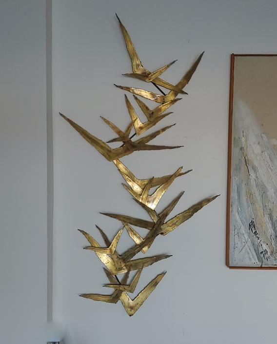 Mid Century Modern Brass Flying Bird Curtis Jere Style Wall Sculpture by ModandOzzie
