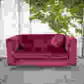 """""""Winona"""" Ruby Red Velvet Loveseat"""