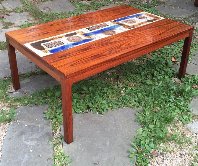 Danish Mid Century Modern Occasional Side Coffee Table Rosewood: Brazilian Rosewood Danish Coffee Table Hand Painted Tile