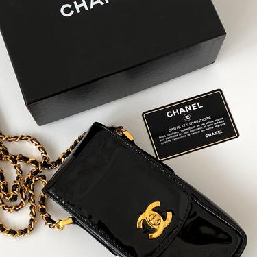 Vintage 90's CHANEL CC Turnlock Logo Black Patent Leather Gold Chain Flap Crossbody Purse Bag Handbag Evening Clutch Phone Case Pouch by MoonStoneVintageLA