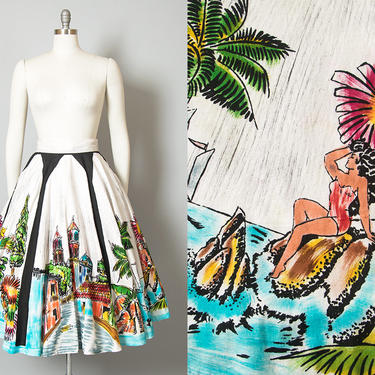 Vintage 1950s Circle Skirt   50s Mexican Novelty Print Cotton Hand Painted Scenic Panel Souvenir Skirt (medium) by BirthdayLifeVintage