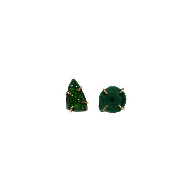 Mismatched Druzy + Malachite Stud Earrings