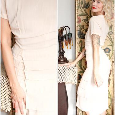 1940s Dress // Creamy Pale Pink Tiered Lipman & Wolfe Co Dress // vintage 40s dress by dethrosevintage