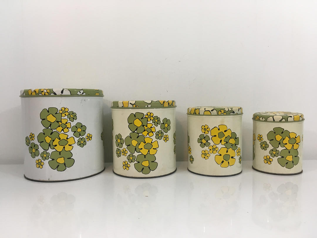 Vintage Ballonoff Kitchen Canister Set of Four (4) Green Yellow White  Floral Canisters Metal Jar Retro Kitchen Flowers Made in the USA 1950s by  ...
