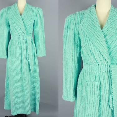 1940s CHENILLE ROBE | Vintage 40s Plush Aqua Blue Puff Shoulder Cozy House Coat | small / medium by RelicVintageSF