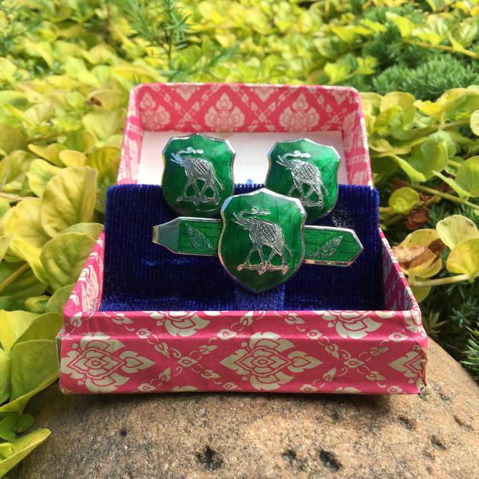 Vintage Siam Sterling Cufflinks Tie Clip Set Green Elephants Thai by BrainWashington