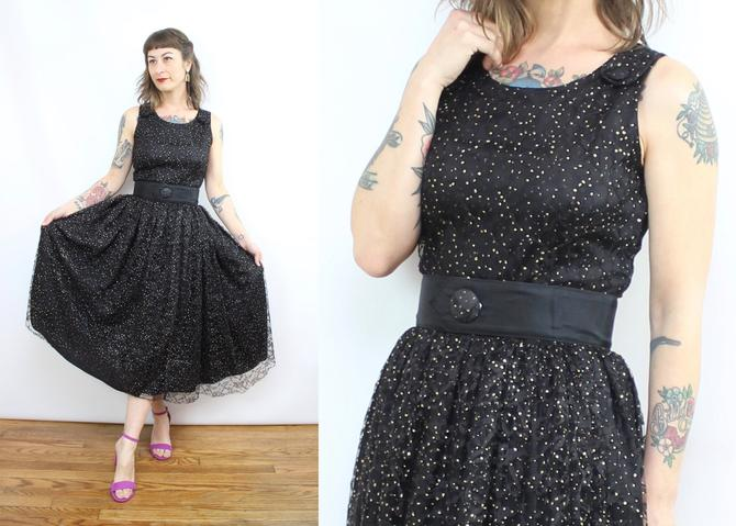 Vintage 80's Black and Gold Glitter Mesh Dress / 1980's Starry Prom Dress / 50's Style / Women's Size Small by RubyThreadsVintage
