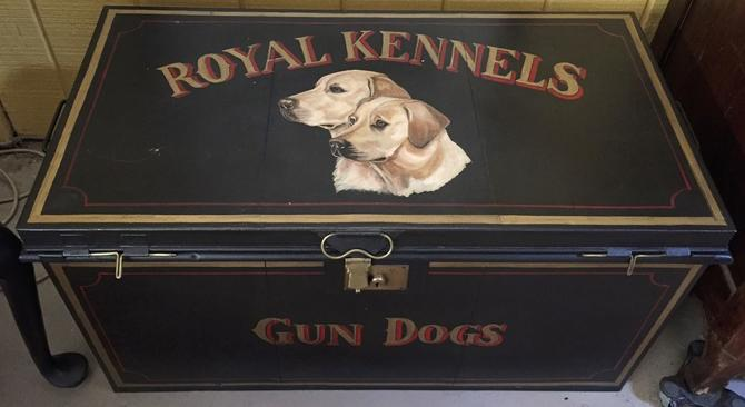 English Metal Tack Trunk Blanket Chest Locker | Coffee Table | Hunting Dog Art