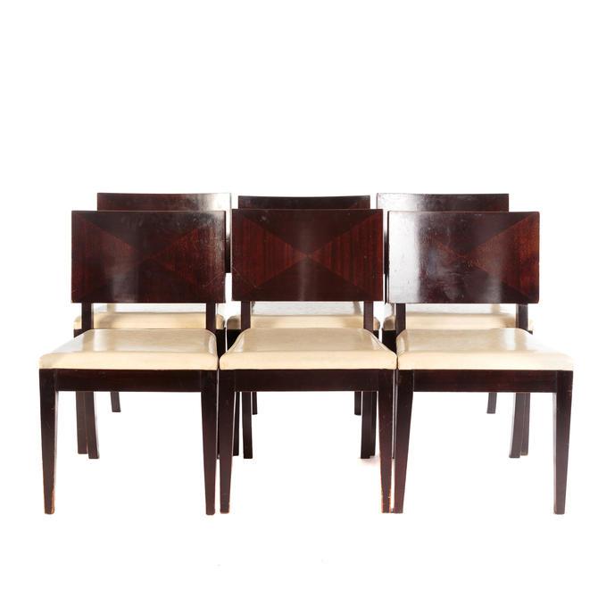 Set of Six Art Deco Style Mahogany Dining Chairs