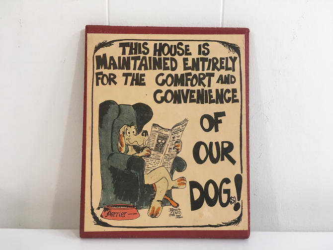 Vintage Frank Jones 1987 Parody Graphics 1980s Wall Hanging Plaque Home Decor Decoration Dog Pets Dogs by CheckEngineVintage