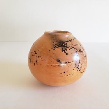 Vintage Orange Ceramic Bud Vase, Wheel Thrown Studio Art Pottery, Small Round Horse Hair Raku Vase by CivilizedCrow