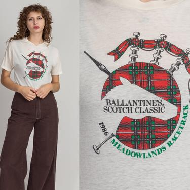 1986 Ballantine's Scotch Whiskey Bagpipe Tee - Medium | Vintage 80s Unisex White Graphic Meadowlands T Shirt by FlyingAppleVintage
