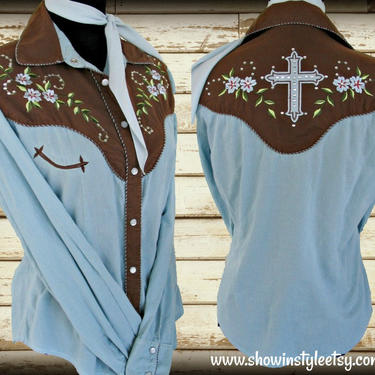 Martini Ranch Vintage Retro Women's Cowgirl Western Shirt, Blouse, Embroidered Flowers, Rhinestones, Tag Size Medium (see meas. photo) by ShowinStyle