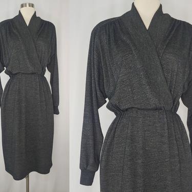 Vintage Eighties Gray Knit St Gillian Kay Unger Long Sleeve Dress - 80s Medium Faux Wrap Dress by JanetandJaneVintage
