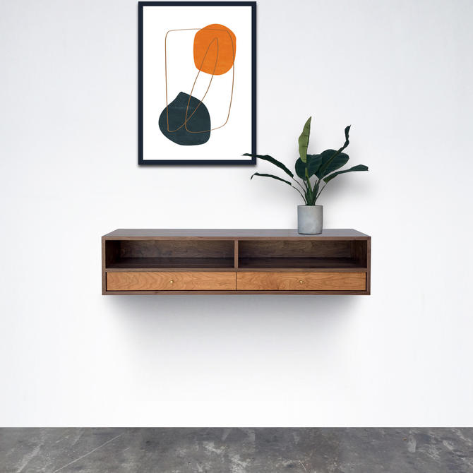 Floating Alto Console / Entry Table - Walnut and Cherry - In Stock! by STORnewyork