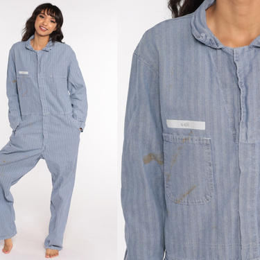 Striped Boiler Suit -- 90s Walls Coveralls Pants Jumpsuit Workwear Distressed Boilersuit Blue Work Wear Vintage Mechanic Men's Large 44 R by ShopExile