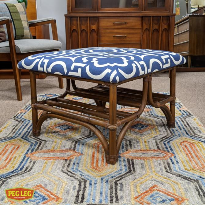 Vintage rattan ottoman with new upholstery