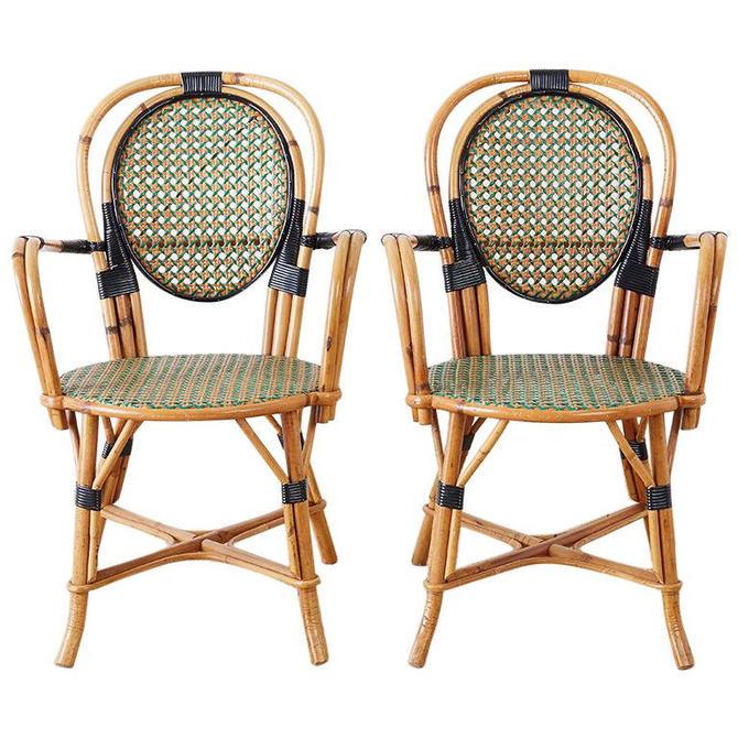 Pair of French Maison Gatti Rattan Cafe Bistro Chairs by ErinLaneEstate