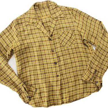 Vintage 50s Loop Collar Gabardine Shirt S - 1950s Western Plaid Women's Button Up - Mustard Yellow Brown 50s Blouse by MILKTEETHS