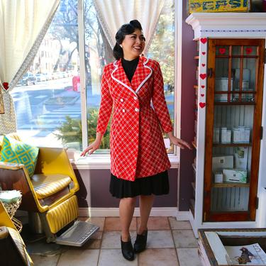 Vintage 1960's Ruth Norman for Gay Gibson Bright Orange Red and White Plaid Double Breasted Coat Jacket by krispyfringe