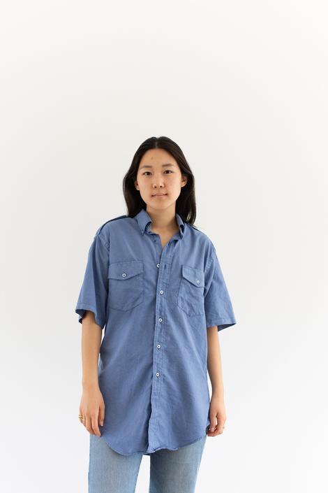Vintage Rinsed Blue Work Shirt | Overdye Simple Blouse | Crinkled Cotton | M by RAWSONSTUDIO
