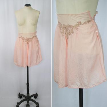 Vintage 30s tap pants   Vintage pink silk tap shorts   1930s pink silk embroidered bloomer panties boy shorts by BeeandMason