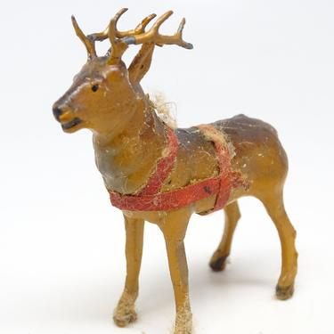 Antique Small German Reindeer Hand Painted Composite, Vintage Deer for Christmas Putz or Nativity by exploremag
