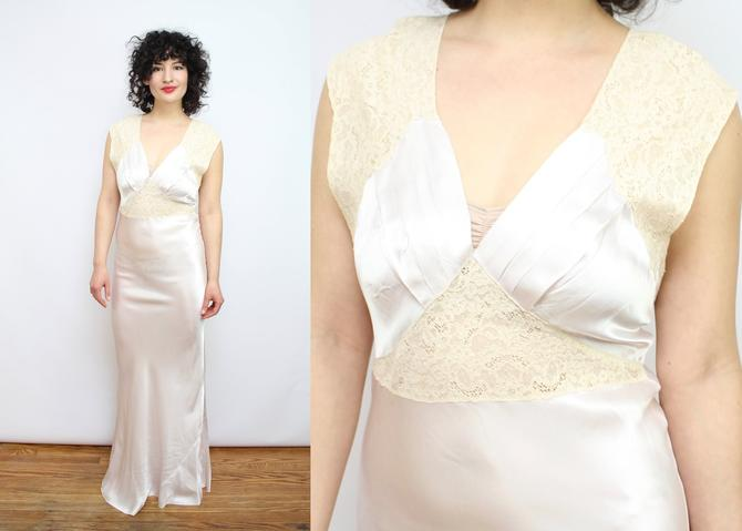 dec707ddc459 Vintage 30's 40's Silk and Lace Nightgown / 1940's Pink ...