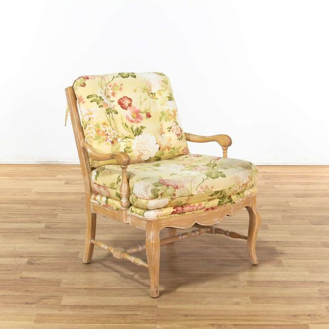 Light Wood Frame Armchair w/ Floral Cushions