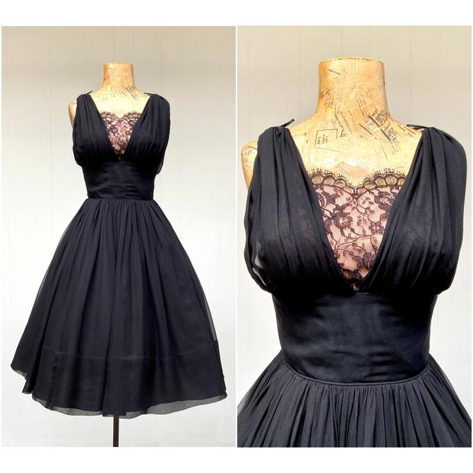 """Vintage 1950s Jay Herbert Party Dress, 50s Sleeveless Black Silk Chiffon and Lace Cocktail Dress, Special Occasion Frock, Small 34"""" Bust by RanchQueenVintage"""