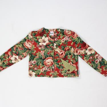 Fiore Jacket — vintage floral jacket / 80s cropped buttoned red cotton jacket / women's medium lightweight duck canvas bold statement jacket by fieldery