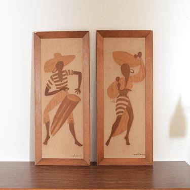 Pair of MCM Mel Quimby Veneer Wood Tropical Bongo & Maraca Players by fingerlickingvintage