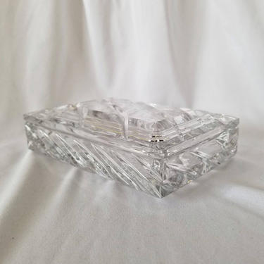 Vintage Crystal Jewelry Box / Glass Catch All Dish / Covered Glass Candy Dish / Full Lead Crystal Cigarette Box / Rogaska Crystal Home Decor by SoughtClothier