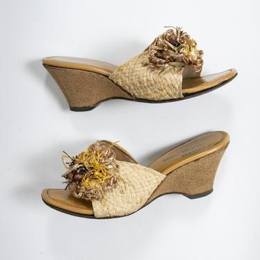 1950s Shoes Cork Heels Woven Sandals 6.5 by dejavintageboutique