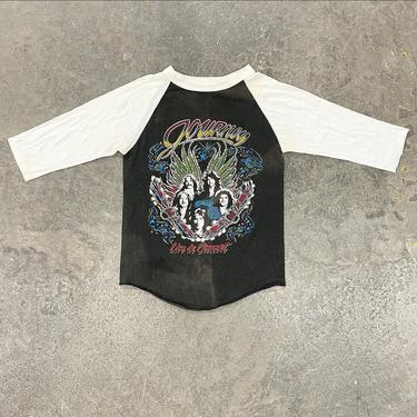 Vintage Journey Raglan Tee Retro 1980s Escape + Live in Concert + Band Tee + American Rock Band + Soft Rock + Music +  Unisex Apparel by RetrospectVintage215
